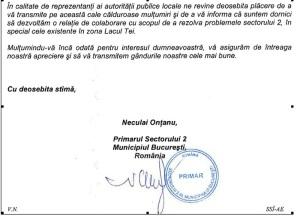 Fragment scrisoare Primaria Sectorului 2